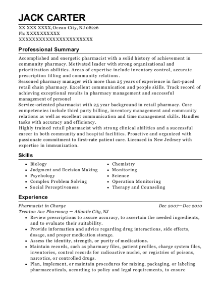Pharmacist in Charge resume template New Jersey