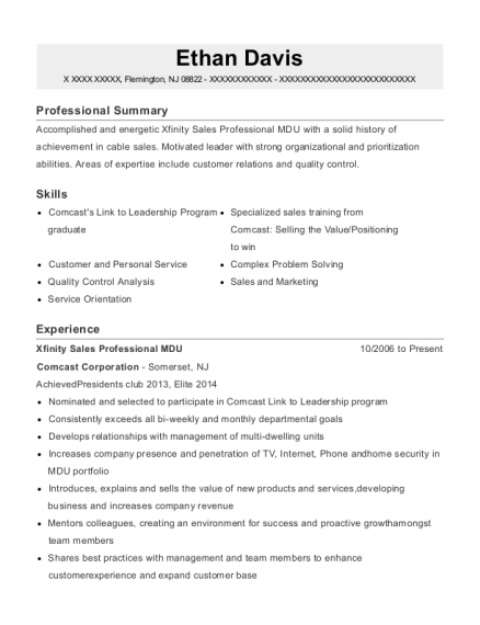 Xfinity Sales Professional MDU resume example New Jersey