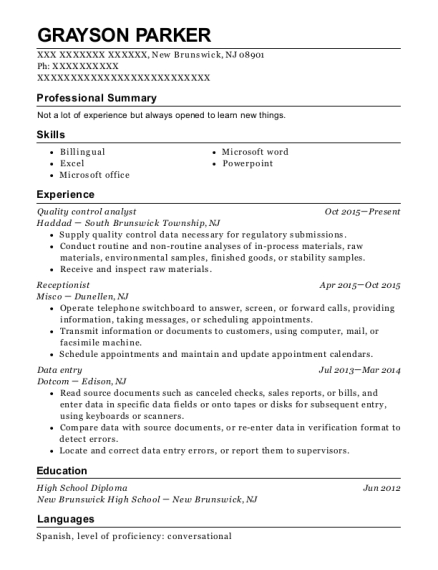 Quality Control Analyst resume template New Jersey