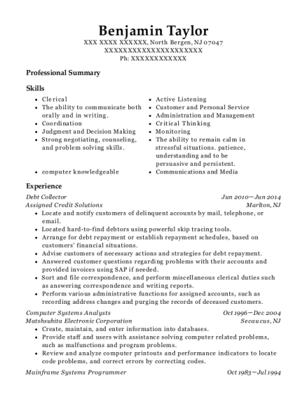 Debt Collector resume sample New Jersey