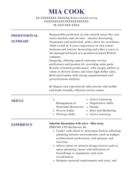 Interior Decorator resume template New Jersey