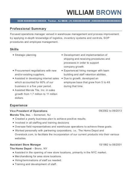 Vice President of Operations resume example New Jersey