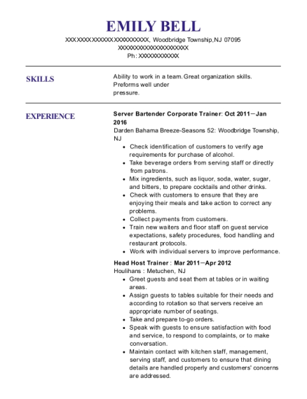 Server Bartender Corporate Trainer resume example New Jersey