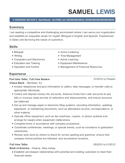 Part time Teller resume template New Jersey