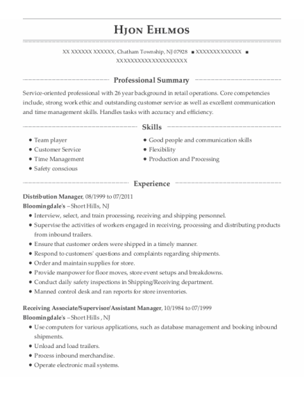 Distribution Manager resume example New Jersey