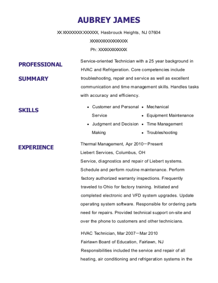Thermal Management resume format New Jersey