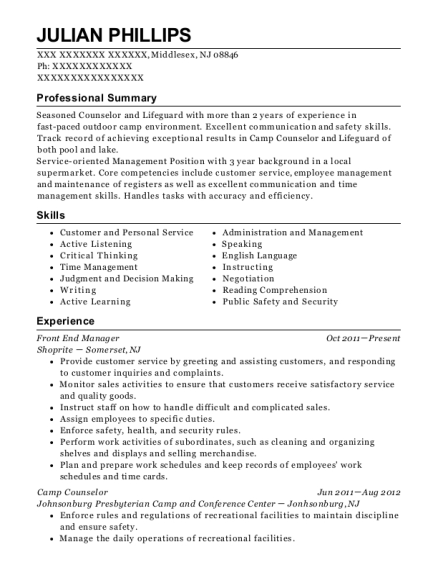 Front End Manager resume template New Jersey