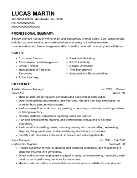 Assitant General Manager resume sample New Jersey