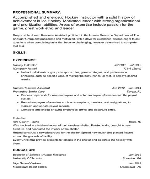 Hockey Instructor resume sample New Jersey