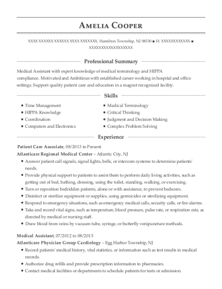 Patient Care Associate resume example New Jersey