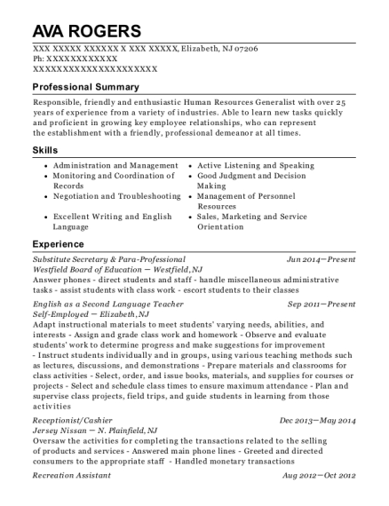 Substitute Secretary & Para Professional resume template New Jersey