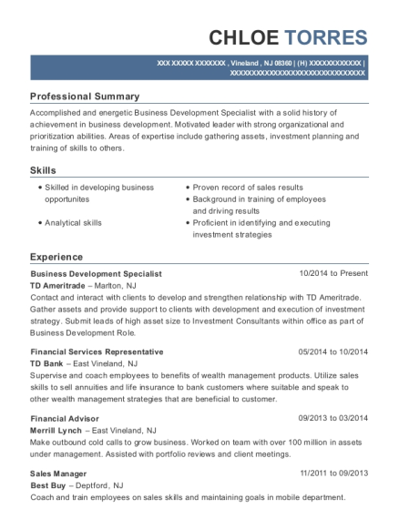 Business Development Specialist resume example New Jersey