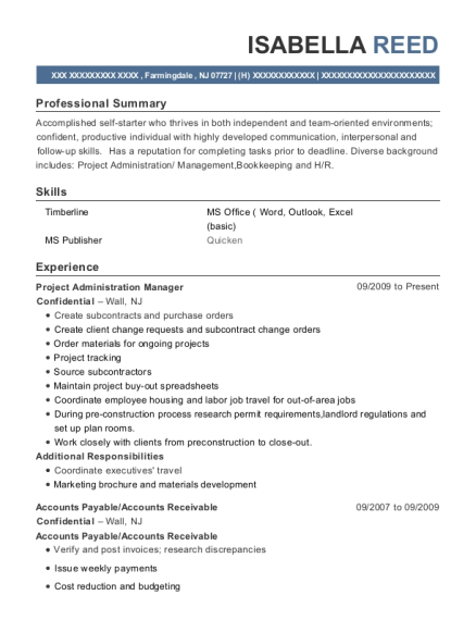 Project Administration Manager resume format New Jersey