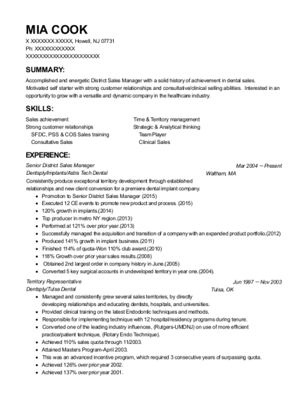 Senior District Sales Manager resume format New Jersey