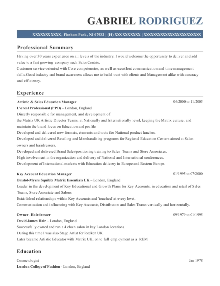 Artistic & Sales Education Manager resume template New Jersey