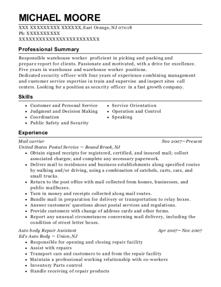 Mail carrier resume sample New Jersey
