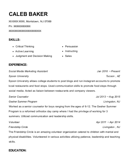 Social Media Marketing Assistant resume template New Jersey