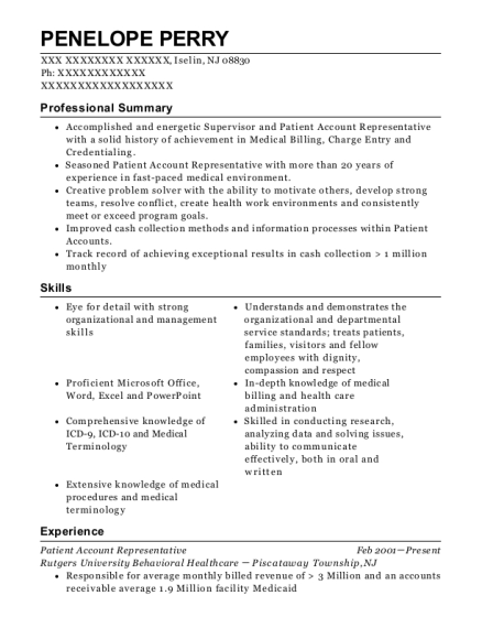 Patient Account Representative resume example New Jersey
