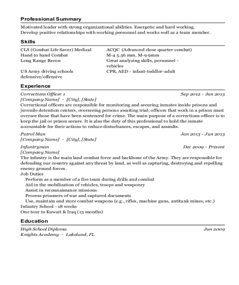 Corrections Officer 1 resume template New Jersey
