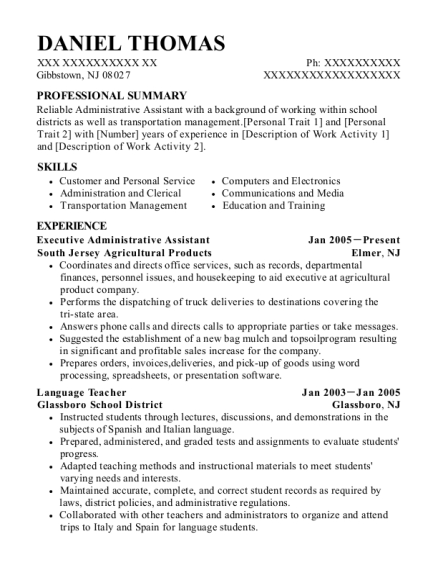 Executive Administrative Assistant resume format New Jersey