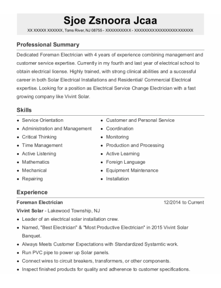 Lead Electrician resume template New Jersey