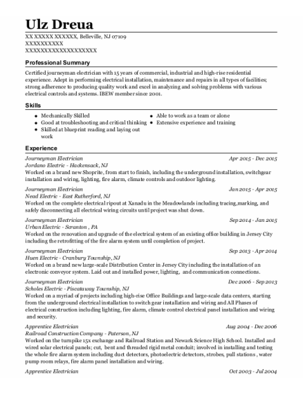 Journeyman Electrician resume sample New Jersey