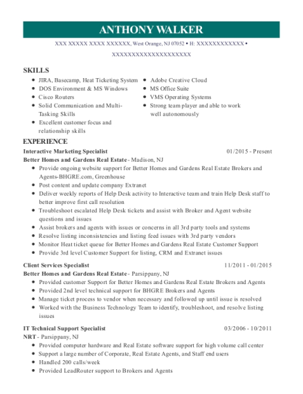 Interactive Marketing Specialist resume format New Jersey