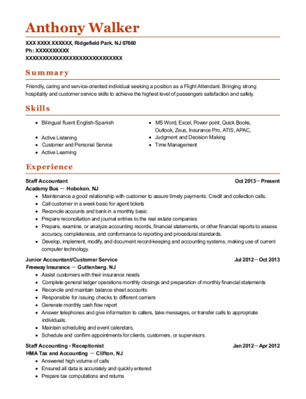 Staff Accountant resume sample New Jersey