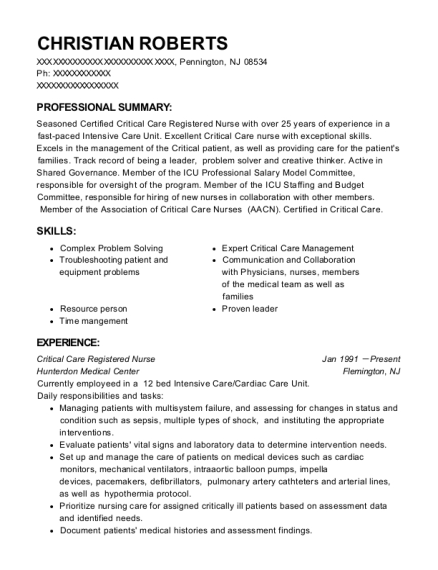 Critical Care Registered Nurse resume format New Jersey