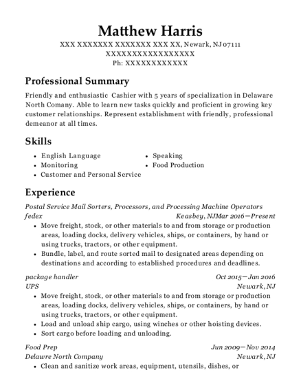 Postal Service Mail Sorters resume template New Jersey