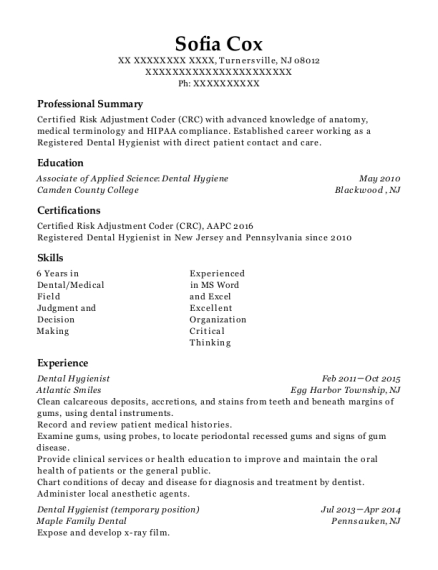 Dental Hygienist resume template New Jersey