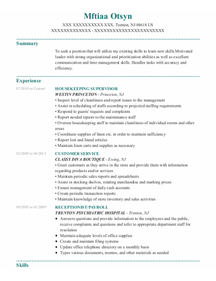 Housekeeping Supervisor resume format New Jersey