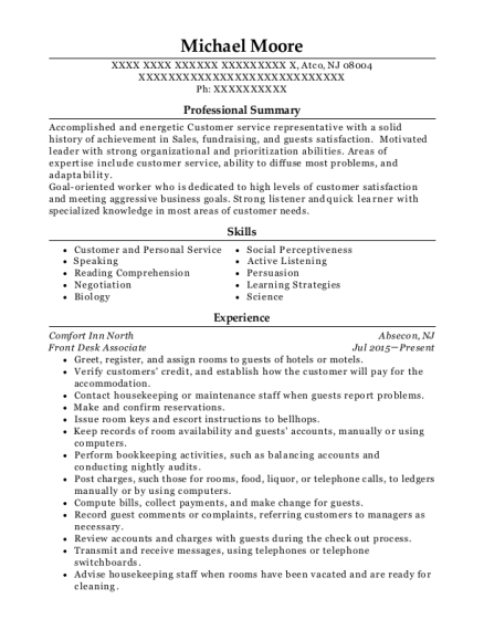 Front Desk Associate resume example New Jersey