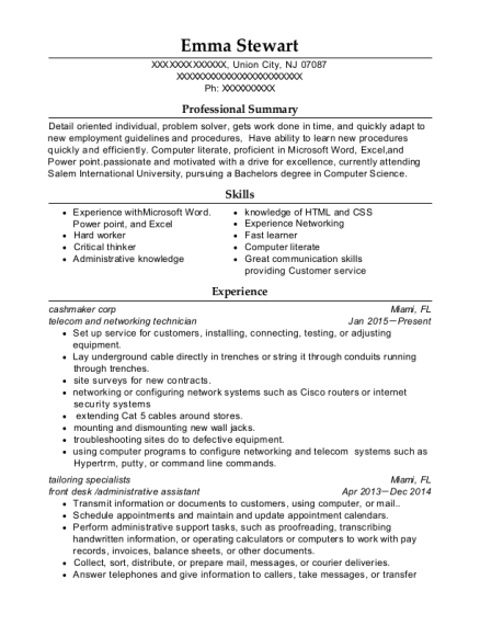 telecom and networking technician resume sample New Jersey