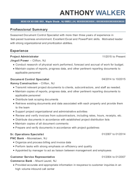 Project Administrator resume format New Jersey