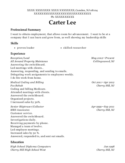 Reception resume sample New Jersey