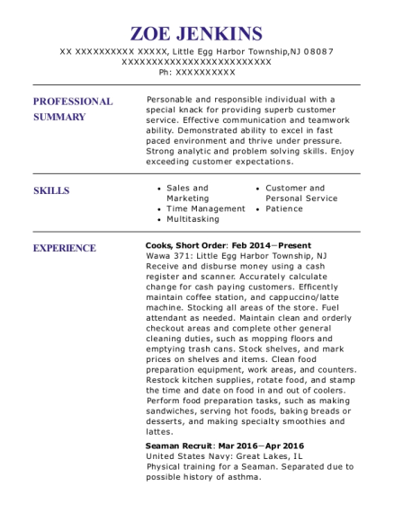 Cooks resume format New Jersey