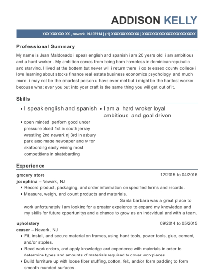 grocery store resume example New Jersey