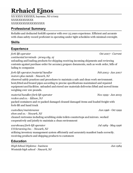 Fork Lift Operator resume example New Jersey