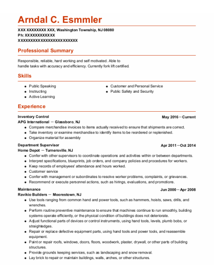 Department Supervisor resume format New Jersey