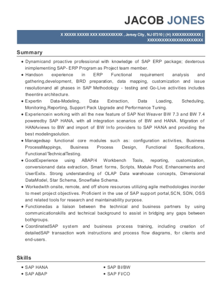 SAP BI resume format New Jersey