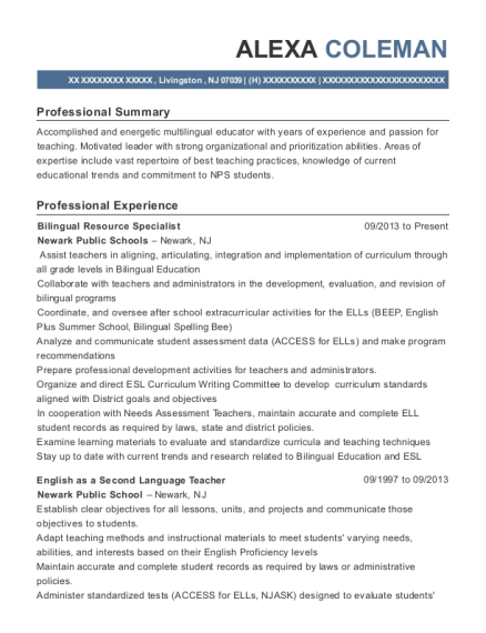 Bilingual Resource Specialist resume template New Jersey
