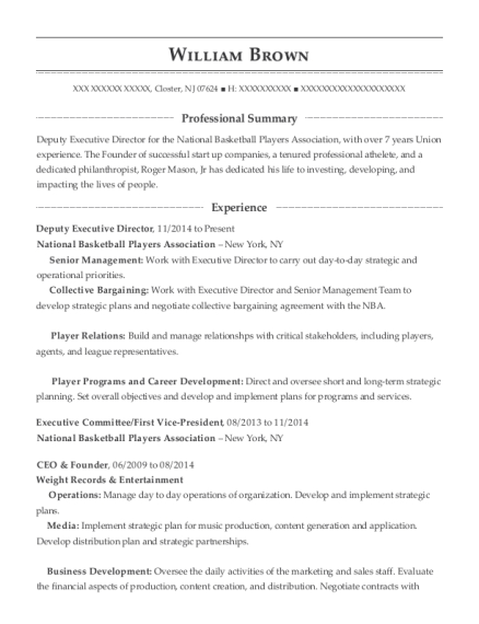 Deputy Executive Director resume template New Jersey