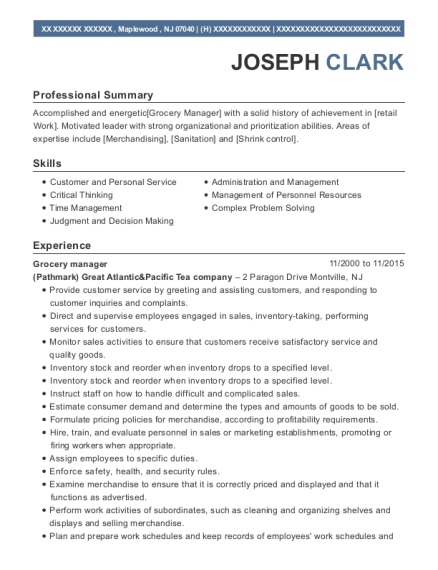 Grocery manager resume sample New Jersey