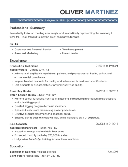 Production Technician resume format New Jersey