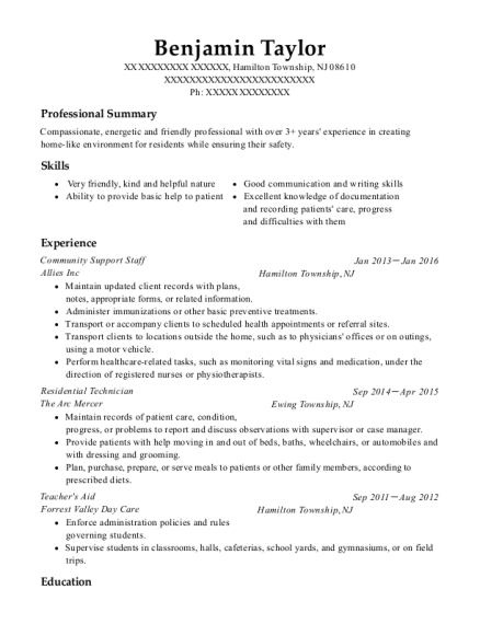 Community Support Staff resume template New Jersey