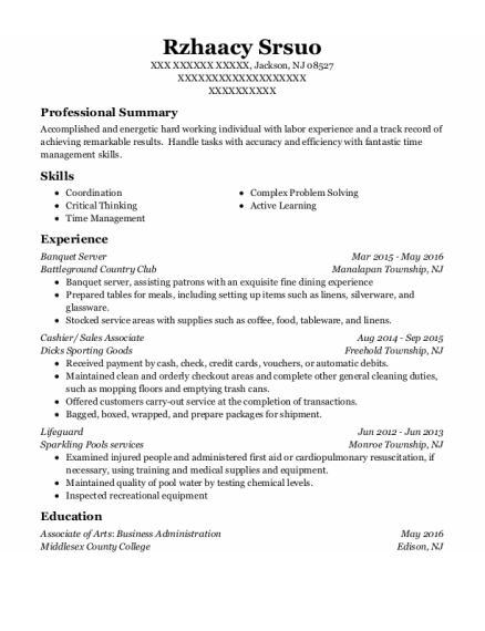Banquet Server resume sample New Jersey