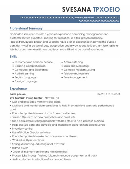 Sales person resume format New Jersey