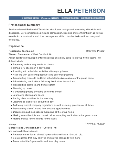 Residential Technician resume example New Jersey