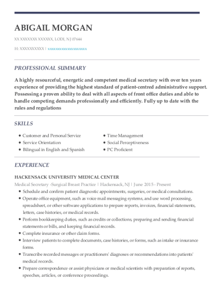 Medical Secretary Surgical Breast Practice resume template New Jersey